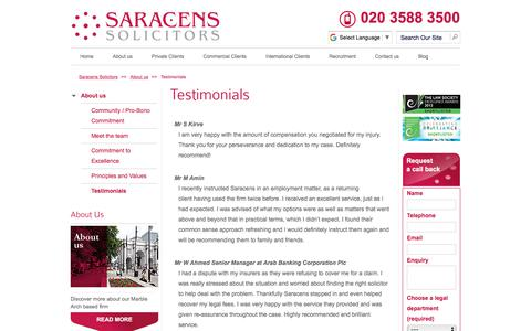 Screenshot of Testimonials Page saracenssolicitors.co.uk - Testimonials - Saracens Solicitors - captured Jan. 17, 2018