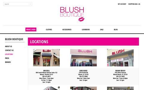 Screenshot of Locations Page shopblush.com - Womens Clothing Stores Miami Florida - ShopBlush Boutique Locations : Blush Boutique Miami – ShopBlush.com - captured Feb. 7, 2016