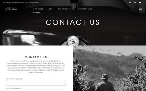 Screenshot of Contact Page richardkershawwines.co.za - Contact Us - Richard Kershaw Wines - captured Sept. 20, 2018