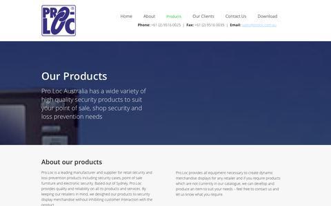 Screenshot of Products Page proloc.com.au - Loss Prevention | Sydney, Australia | Pro.Loc - captured Jan. 31, 2016