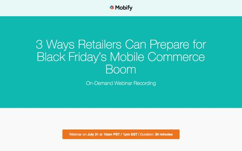 Screenshot of Landing Page mobify.com - Black Friday Mobile Commerce Webinar - captured Aug. 11, 2018