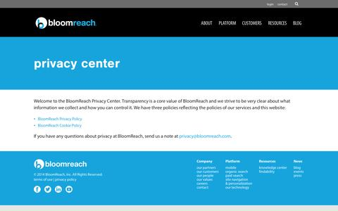 Screenshot of Privacy Page bloomreach.com - Privacy CenterPrivacy Center - BloomReach - captured Sept. 13, 2014