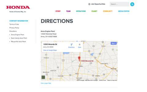 Screenshot of Contact Page honda.com - Welcome to Honda Manufacturing of Ohio - Honda of America Mfg. - captured Sept. 18, 2014