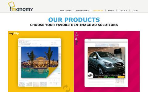 Screenshot of Products Page imonomy.com - Products | Imonomy - captured Sept. 16, 2014