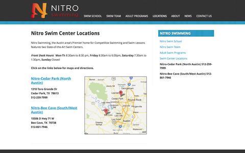 Screenshot of Locations Page nitroswim.com - Nitro Swim Center Locations | Nitro Swimming Austin, TX - captured Oct. 7, 2014