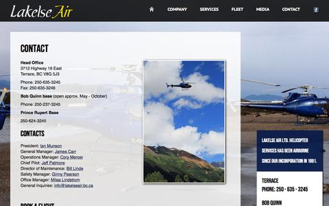 Screenshot of Contact Page lakelseair.com - Lakelse Air | Helicopter Services in Terrace & Northern BC - captured Oct. 1, 2014