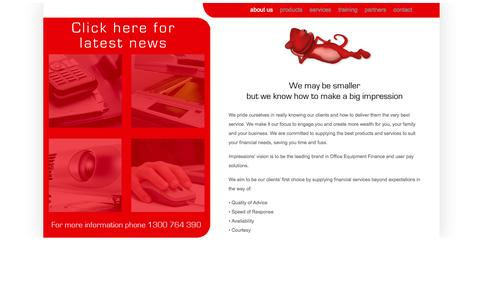 Screenshot of Home Page impressionsfinance.com.au - Finance for business equipment and Finance for imaging equipment - captured Sept. 30, 2014