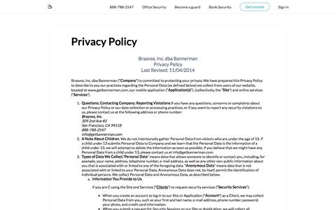 Screenshot of Privacy Page bannerman.com - Privacy Policy - Bannerman - captured May 17, 2016