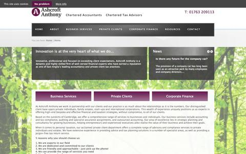 Screenshot of Home Page ashcroftanthony.com - Tax Planning and Advice with Cambridge Based Accountants – Ashcroft Anthony - captured Oct. 4, 2014