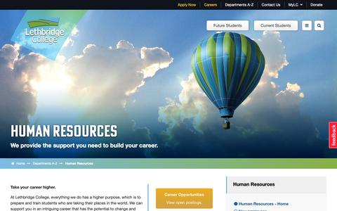 Screenshot of Jobs Page lethbridgecollege.ca - Human Resources | BE READY - captured Nov. 4, 2018