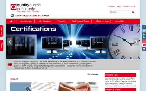 Screenshot of Jobs Page qualityaustriacentralasia.com - Standards, Training, Testing, Assessment and Certification | Quality austria central asia - captured Aug. 7, 2017