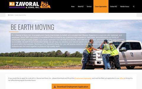 Screenshot of Jobs Page rjzavoral.com - Career Opportunities – RJ ZAVORAL & SONS - captured Oct. 19, 2018