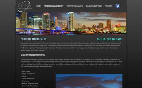 Screenshot of About Page ghg-am.com - Property Manager - GHG-AM Miami - captured April 20, 2016
