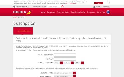 Screenshot of Signup Page iberia.com - e-Boletines Iberia.com - Suscripción al boletín de ofertas de IBERIA.COM - Iberia - captured Jan. 8, 2016