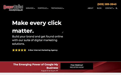 Screenshot of Home Page cougardigitalmarketing.com - Cougar Digital | Website Design & Digital Marketing in Tri-Cities, WA - captured Aug. 6, 2019