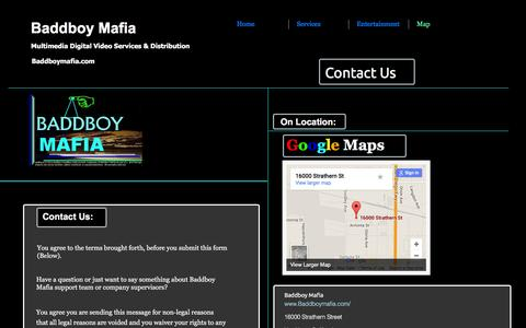 Screenshot of Contact Page Maps & Directions Page baddboymafia.com - Contact Us - captured Dec. 28, 2015