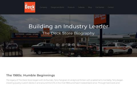 Screenshot of About Page deckstore.ca - The Deck Store Biography: Building an Industry Leader - captured Oct. 19, 2018