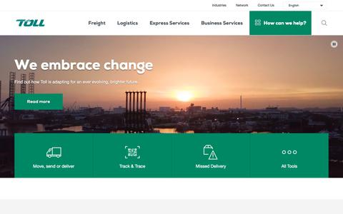Screenshot of Home Page tollgroup.com - Toll Group - Providing Global Logistics - captured Oct. 7, 2018