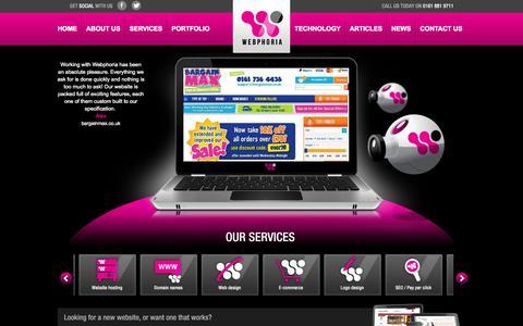 Screenshot of Home Page webphoria.co.uk - Web Design Company Manchester | Affordable Websites | SEO | E-Commerce - captured Jan. 27, 2015