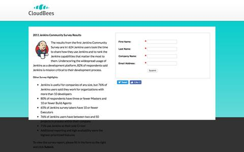 Screenshot of Landing Page cloudbees.com - 2011 Jenkins Community Survey Results - captured Oct. 5, 2016