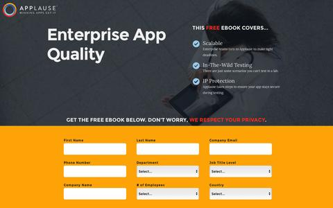 Screenshot of Landing Page applause.com - Building Scaleable Enterprise App Quality - Applause: 360° App Quality - captured March 15, 2016