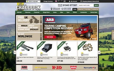 Screenshot of Home Page johncraddockltd.co.uk - Land Rover Parts & Range Rover Parts, Accessories, 4x4 Tyres & Wheels - captured Sept. 23, 2014
