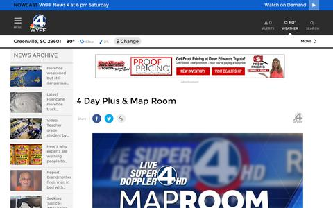 Screenshot of Maps & Directions Page wyff4.com - 4 Day Plus & Map Room - captured Sept. 23, 2018
