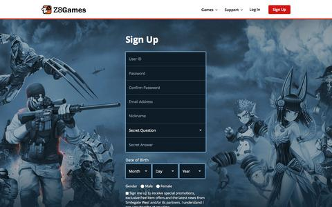 Screenshot of Signup Page z8games.com - Z8Games - Free Gaming. Evolved. - captured Aug. 21, 2016