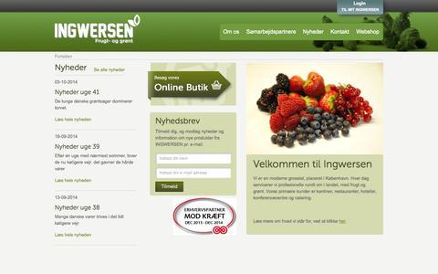 Screenshot of Home Page ingwersen.dk - Frugt & Grønt levering til kantiner, frokostordning mm. - captured Oct. 6, 2014