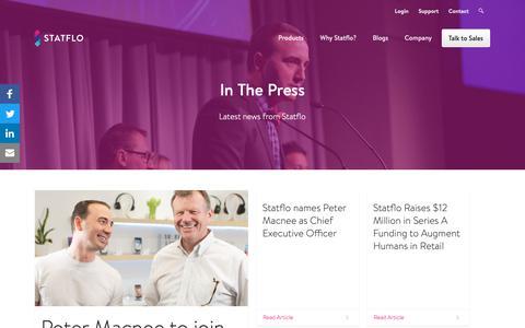 Screenshot of Press Page statflo.com - In The Press - captured Feb. 16, 2019