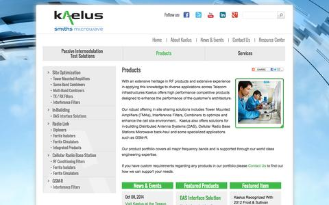 Screenshot of Products Page kaelus.com - RF Products for Your Telecom Infrastructure    Kaelus - captured Oct. 6, 2014