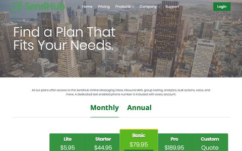 Screenshot of Pricing Page sendhub.com - SMS Text Marketing Plans For Businesses | SendHub - captured Jan. 13, 2019