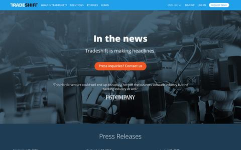 Screenshot of Press Page tradeshift.com - Press | : Tradeshift - captured Oct. 1, 2015