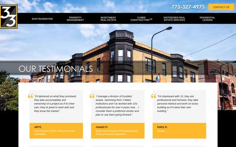 Screenshot of Testimonials Page 33realty.com - 33 Realty Testimonials | Partnering with 33 - captured Sept. 21, 2018