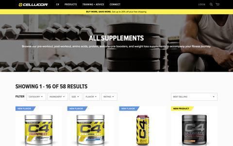Screenshot of Products Page cellucor.com - All Supplements - captured Oct. 29, 2018