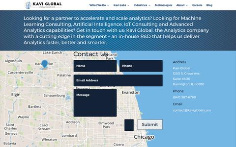 Screenshot of Contact Page kaviglobal.com - Machine Learning Companies, Artificial Intelligence Services in Chicago - captured Oct. 17, 2017