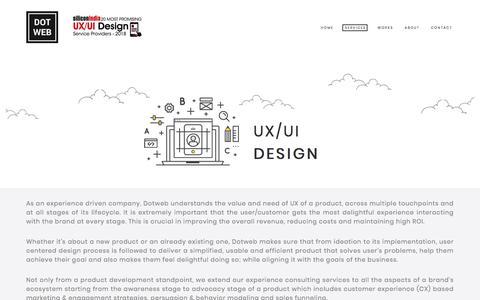 Screenshot of Services Page dotweb.in - UX/UI DESIGN | DOTWEB IDEAS - captured June 29, 2018
