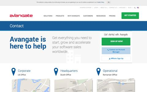 Screenshot of Contact Page avangate.com - Contact Avangate - captured Oct. 10, 2014
