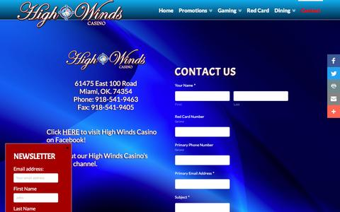 Screenshot of Contact Page highwindscasino.com - Contact Us - High Winds Casino Address, Phone Number, Fax, & etc. - captured July 14, 2016