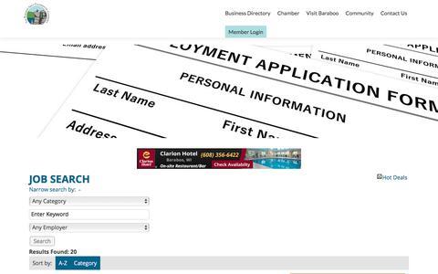 Screenshot of Jobs Page baraboo.com - Job Search - Jobs   Baraboo Area Chamber of Commerce - captured Oct. 10, 2017