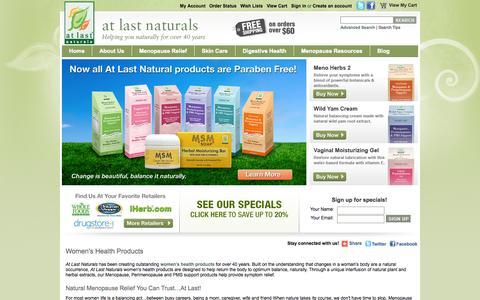 Screenshot of Home Page atlastnaturals.com - Natural Menopause Relief   At Last Naturals - captured Sept. 30, 2014