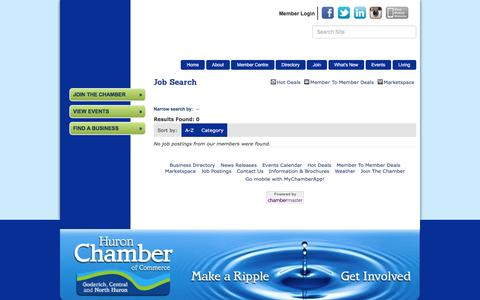 Screenshot of Jobs Page huronchamber.ca - Job Search - Huron Chamber of Commerce, ON - captured Nov. 15, 2016