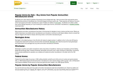Popular Ammo for Sale – Buy Ammo from Popular Ammunition Manufacturers Online at GunBroker.com