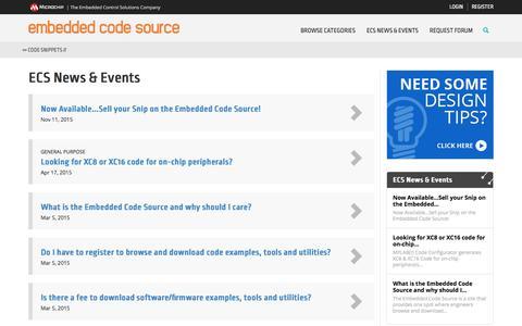 Screenshot of Press Page embeddedcodesource.com - Microchip Embedded Code Source  - News | Microchip Embedded Code Source - captured May 4, 2017
