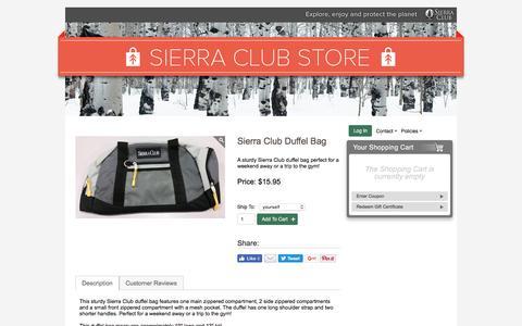 Screenshot of sierraclub.org - Sierra Club Duffel Bag – Sierra Club Online Store - captured Aug. 18, 2016
