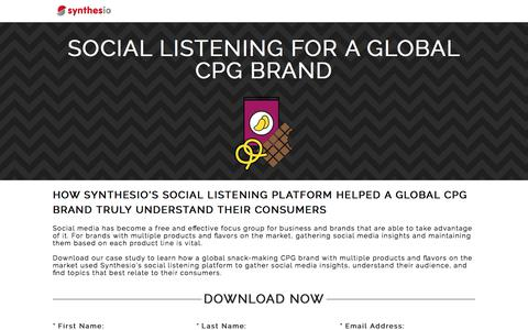 Screenshot of Landing Page synthesio.com - Social Listening for a Global CPG Brand - captured June 2, 2017
