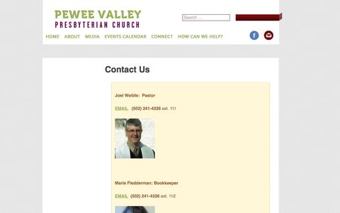Screenshot of Contact Page Team Page peweevalleypresbyterian.org - Contact Us   Pewee Valley Presbyterian Church - captured June 24, 2016