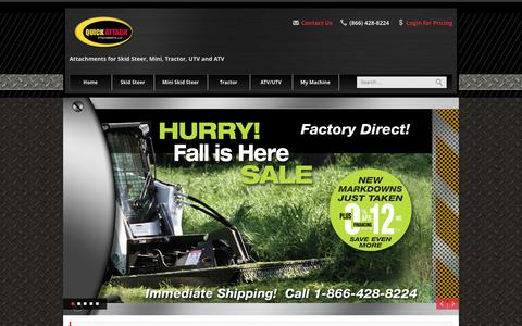 Screenshot of Home Page quickattach.com - Skid Steer Attachments / Tractor Attachments to fit all brands - Quick Attach Attachments LLC - captured Oct. 3, 2014