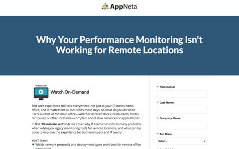Screenshot of Landing Page appneta.com - End-User Performance Monitoring for Remote Locations - captured March 1, 2018