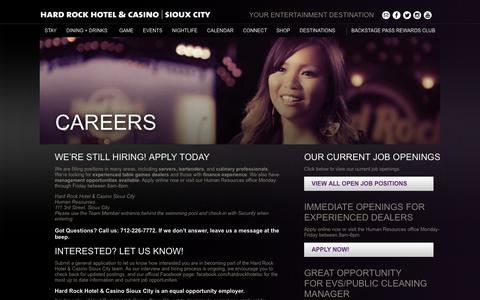 Screenshot of Jobs Page hardrockcasinosiouxcity.com - Careers - Hard Rock Casino & Hotel - Sioux City - Employment - captured Oct. 2, 2014